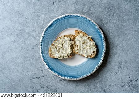Homemade Artichoke Paste Or Pate With Crouton Bread. Ready To Serve.