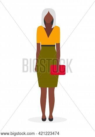 Dark Skinned Business Lady Flat Vector Illustration. Afro American Elegant, Glamour Woman With Blond