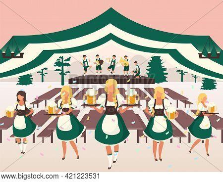 Oktoberfest Flat Vector Illustration. Beer Tent. Folk Musical Performance. Traditional Beer Festival