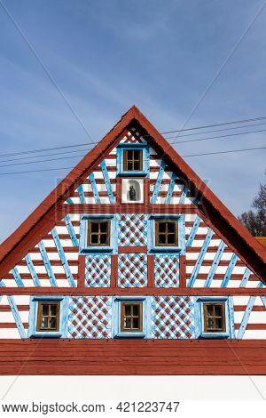 Half-timbered farmhouse, folk architecture in Milhostov, Western Bohemia, Czech Republic