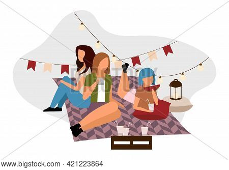 Girls On Picnic Flat Vector Illustration. Female Friends Relaxing With Tea, Cocktails. Sisters On Bl