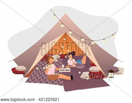 Girls Resting In Tent Flat Vector Illustration. Female Friends, Tourists Lying On Blankets In Teepee