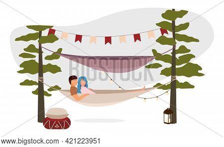 Couple Lying, Hugging In Hammock Flat Vector Illustration. Romantic Summer Camping Vacation. Cartoon