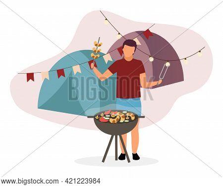 Summer Camp Barbeque Flat Vector Illustration. Hiker, Camper Frying Sausages On Bbq Grill. Husband,