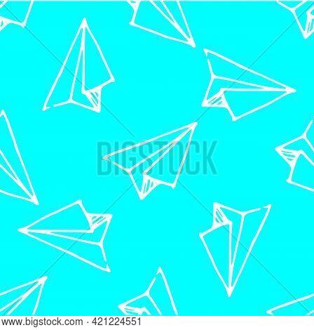 Doodle Doodle Paper Airplane Pattern For Concept Design. Air Flight Journey Concept. Blue Sky.vector