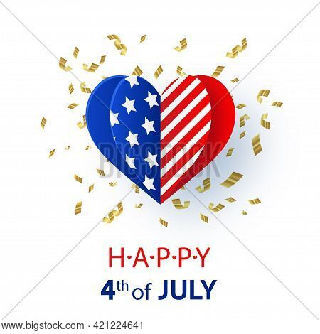Happy 4th Of July. Usa Independence Day Background. American Flag In Heart Shape With Text And Gold