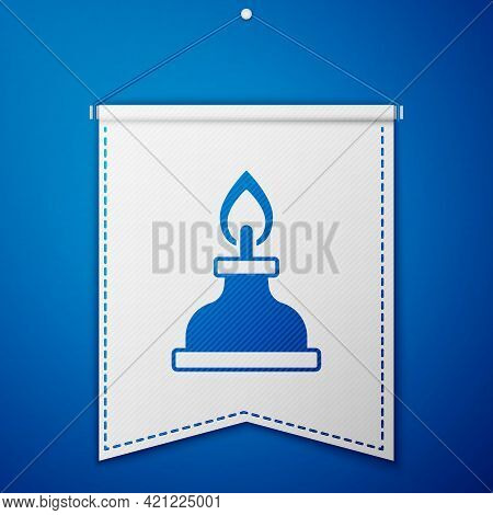 Blue Alcohol Or Spirit Burner Icon Isolated On Blue Background. Chemical Equipment. White Pennant Te