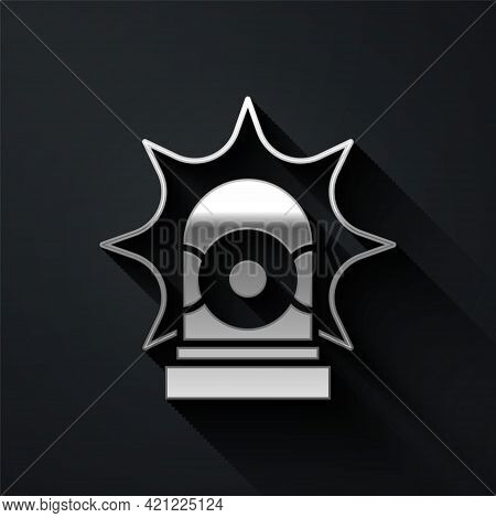 Silver Flasher Siren Icon Isolated On Black Background. Emergency Flashing Siren. Long Shadow Style.