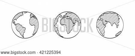 Planet Earth. Hand Drawn Earth Globe. Earth Globes. Vector Illustration