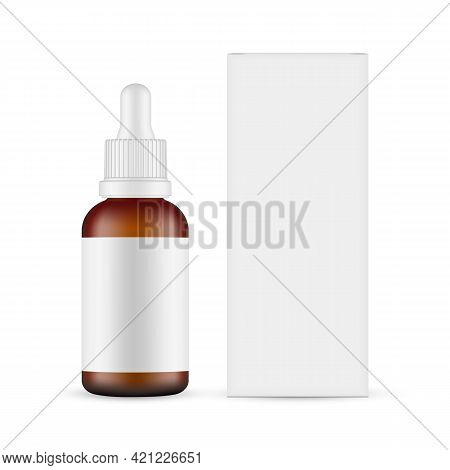 Plastic Frosted Amber Dropper Bottle Mockup With Blank Label, Paper Box Front View, Isolated On Whit