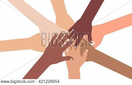 Multi-ethnic Diverse Hands Putting Together, Isolated On White Background. Vector Illustration