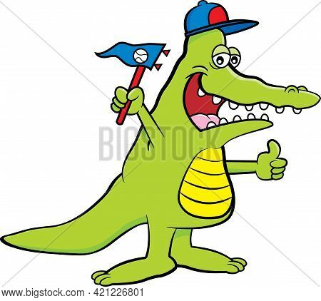 Cartoon Illustration Of An Alligator Wearing A Baseball Cap And Holding A Pennant.