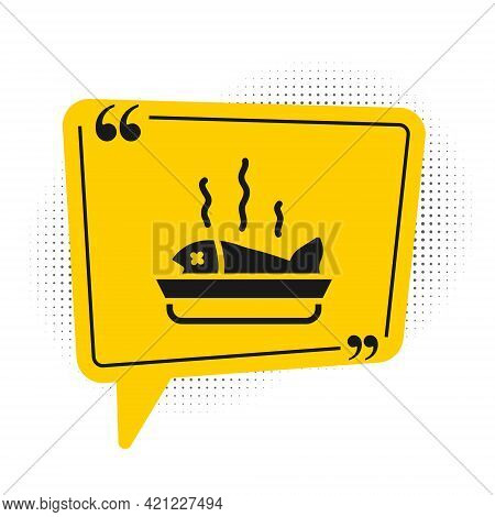 Black Served Fish On A Plate Icon Isolated On White Background. Yellow Speech Bubble Symbol. Vector
