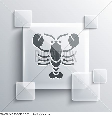 Grey Lobster Icon Isolated On Grey Background. Square Glass Panels. Vector