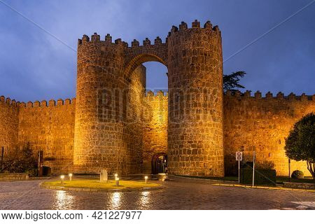 Avila, Spain - December 19, 2020: Walls Of The City Of Avila (world Heritage Site By Unesco) And Cua