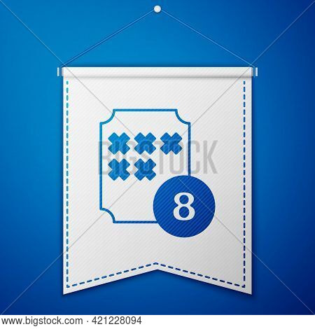 Blue Bingo Or Lottery Ball On Bingo Card With Lucky Numbers Icon Isolated On Blue Background. White