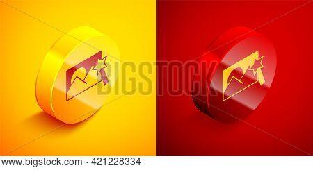 Isometric Photo Retouching Icon Isolated On Orange And Red Background. Photographer, Photography, Re