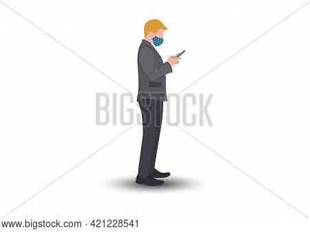 Businessman Standing And Using Smartphone For Connection Technology, Concept Using Smartphone For Co