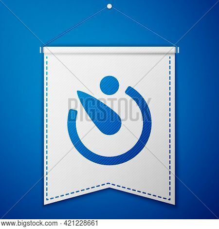 Blue Camera Timer Icon Isolated On Blue Background. Photo Exposure. Stopwatch Timer Seconds. White P