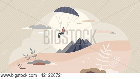 Paragliding Sport With Pilot Flying In Sky With Glider Tiny Person Concept. Mountain Fly As Extreme