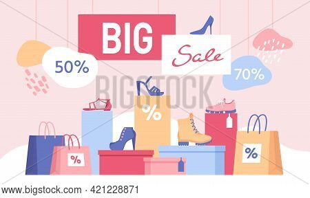Shoe Discount. Big Sale Banner With Shopping Bags And Women Footwear On Box. Shop Special Offer For