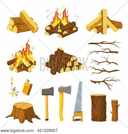 Wood Campfire. Tree Logs Pile, Branches, Lumberjack Ax, Saw And Matches For Make Bonfire. Burn Firew