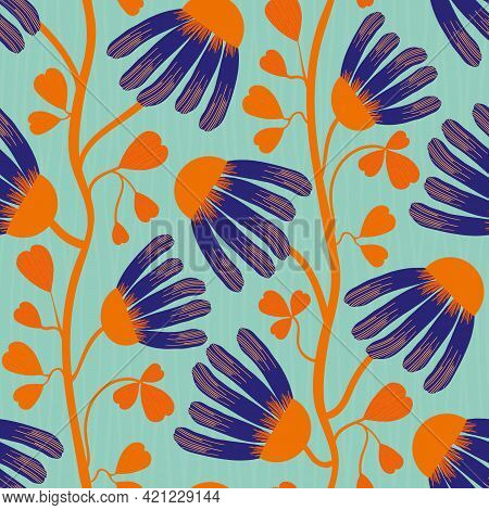 Modern Indian Floral Style Vector Seamless Pattern Background. Neon Orange Indigo Abstract Echinacea