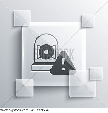 Grey Ringing Alarm Bell Icon Isolated On Grey Background. Alarm Symbol, Service Bell, Handbell Sign,