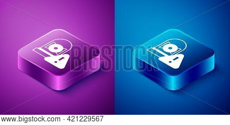 Isometric Ringing Alarm Bell Icon Isolated On Blue And Purple Background. Alarm Symbol, Service Bell