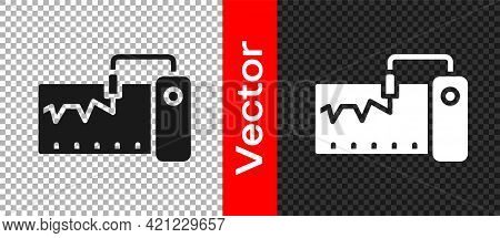 Black Electrical Measuring Instrument Icon Isolated On Transparent Background. Analog Devices. Measu