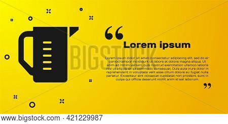 Black Measuring Cup To Measure Dry And Liquid Food Icon Isolated On Yellow Background. Plastic Gradu