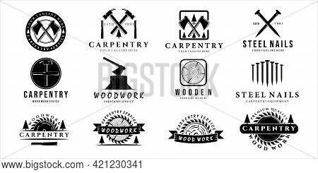 Set Of Carpentry Logo Vintage Vector Illustration Template Design. Bundle Collection Of Craftsman Or