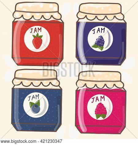 Isolated Jam Jars Set. Strawberry Jam. Vector Illustration Eps10