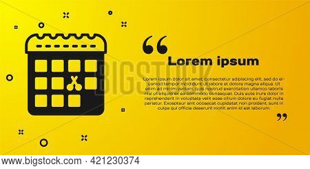 Black Calendar With Haircut Day Icon Isolated On Yellow Background. Haircut Appointment Concept. Vec