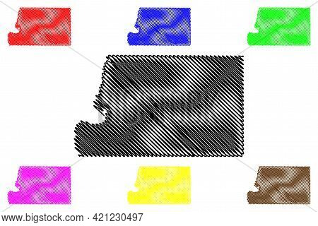Potter County, State Of South Dakota (u.s. County, United States Of America, Usa, U.s., Us) Map Vect