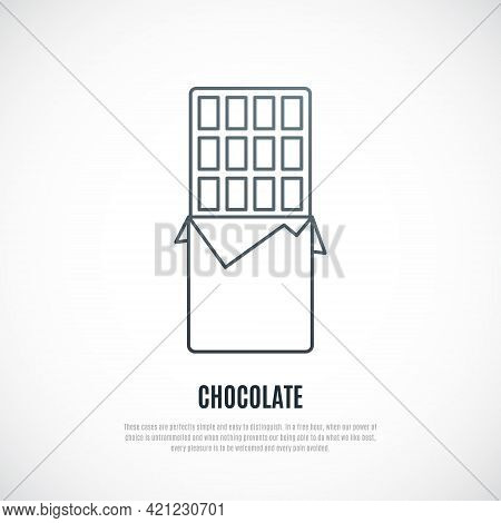 Simple Illustration Of Wrapped Chocolate Bar. Thin Line Chocolate Icon. Vector Sweets Symbol.