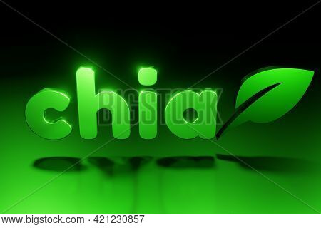 Green Chia Coin Logo With Reflection On Black Background. Chia Eco Crypto Currency, 3d Rendering