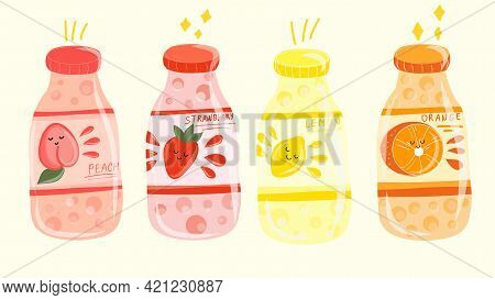 Various Tasty Soda Beverages Set. Carbonated Water With Different Fruit Flavors. Trendy Illustration