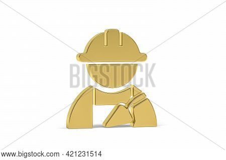 Golden 3d Bricklaying Icon Isolated On White Background - 3d Render