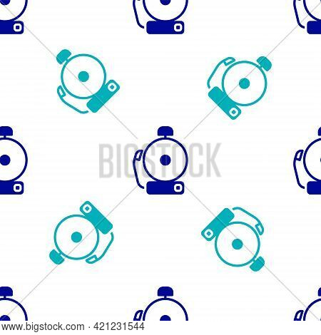Blue Ringing Alarm Bell Icon Isolated Seamless Pattern On White Background. Alarm Symbol, Service Be