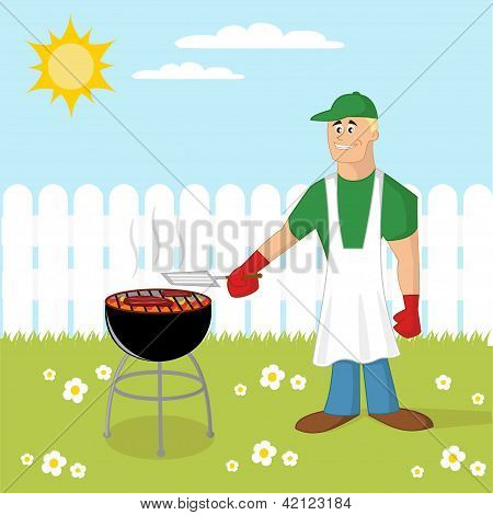 Man cooking a barbecue on the backyard. poster