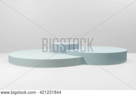 Abstract Minimal Scene With Geometrical Forms. Round Podiums In Soft Blue Colors. Mock Up Scene To S
