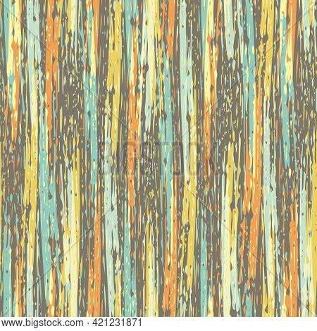 Abstract Striped Painterly Vector Seamless Pattern Background. Backdrop With Blended Irregular Verti
