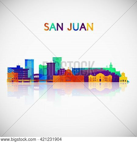 San Juan Skyline Silhouette In Colorful Geometric Style. Symbol For Your Design. Vector Illustration