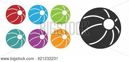 Black Beach Ball Icon Isolated On White Background. Children Toy. Set Icons Colorful. Vector