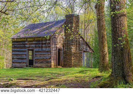 Horizontal Shot Of A Smoky Mountains Pioneer Cabin In The Wilderness.