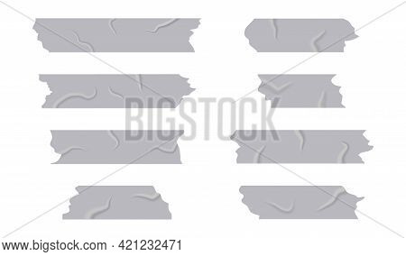 Silver Adhesive Tape On Isolated Background. Torn Piece Of Sticker. Collection Of Ripped Grey Sticky