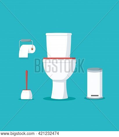 Ceramic Toilet Bowl With Paper Roll And Brush. Interior For Bathroom Or Wc. Sanitary Washroom On Iso