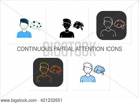 Continuous Partial Attention Icons Set. Simultaneously Pay Attention To Several Sources Of Informati
