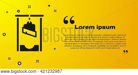 Black Guillotine Medieval Execution Icon Isolated On Yellow Background. Vector